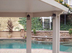 Anaheim Hills Solid Patio Cover with porch lights